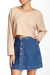 American Apparel Herringbone Cropped Reversible Easy Sweater Beige