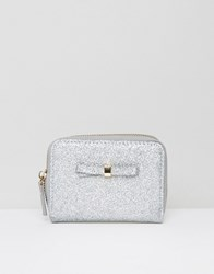 New Look Glitter Bow Coin Purse Silver