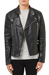 Topshop Men's Topman Black Leather Collarless Biker Jacket