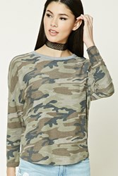 Forever 21 Camo Print French Terry Top Olive Taupe