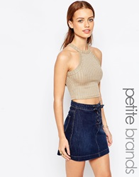 New Look Petite Ribbed Crop Top Gold