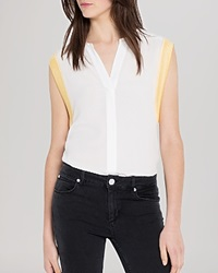 Sandro Top Esra Woven Sleeveless Ecru