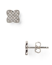 Crislu Micro Pave Clover Couture Stud Earrings Platinum