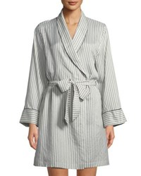 Morpho Luna Alix Striped Long Sleeve Silk Robe White Black