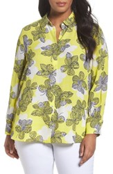 Foxcroft Plus Size Women's Citrine Floral Blouse
