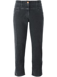 Closed Flared Cropped Trousers Grey