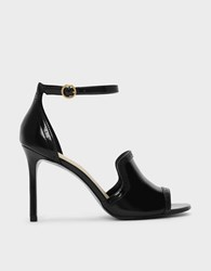 Charles And Keith Brogue Detail Heeled Sandals Black