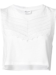 Saint Laurent Embroidered Panel Crop Top White