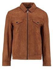 Minimum Pacific Leather Jacket Dark Camel Cognac