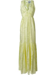 Si Jay Flower Devore Dress Green