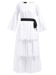Rochas Tiered Cotton Broderie Anglaise Dress White