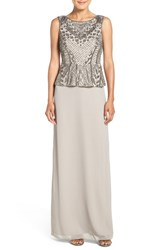 Adrianna Papell Women's Beaded Peplum Gown