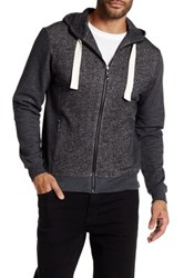 Smash Zip Front Heathered Hoodie Black