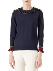 Gucci Merino Stretch Crewneck Sweater Blue