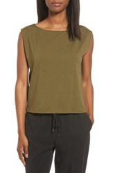Eileen Fisher Women's Stretch Organic Cotton Bateau Neck Crop Shell Olive
