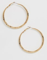 French Connection Hammered Metal Hoop Earrings Gold