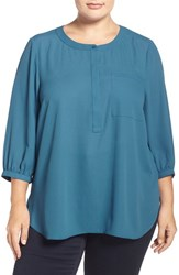 Nydj Plus Size Women's Henley Top Blue Topaz