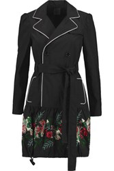 Anna Sui Rosa Floral Appliqued Twill Trench Coat Black