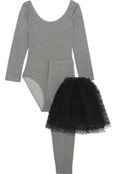 Red Valentino Cotton Blend Jersey And Swiss Dot Tulle Top Leggings And Tutu Set Gray