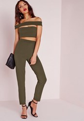 Missguided Bandage Bardot Tapered Leg Jumpsuit Khaki