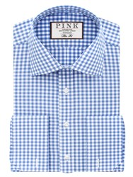 Thomas Pink Summers Check Slim Fit Double Cuff Shirt Pale Blue White