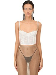 Alessandra Rich Lace And Macrame Crop Bustier White