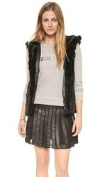 Jocelyn Hooded Fur Vest Black