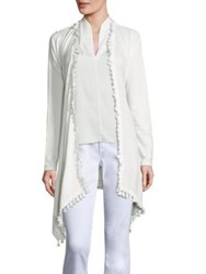 Elie Tahari Roseanna Knit Open Front Cardigan White