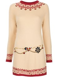 Chanel Vintage Scandinavian Pattern Short Dress Nude And Neutrals
