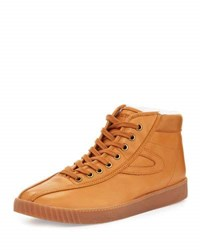 Tretorn High Top Leather Sneaker Beige