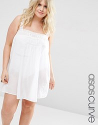 Asos Curve Lace Insert Cami Cover Up White