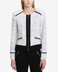 Calvin Klein Textured Moto Jacket Black White Tweed