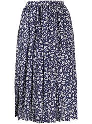 Sara Lanzi Graphic Print Midi Skirt Blue