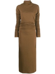 Christophe Lemaire Roll Neck Sweater Dress Brown
