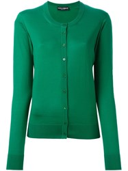 Dolce And Gabbana Crew Neck Cardigan Green