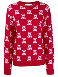 Moschino Teddy Bear Intarsia Jumper Red