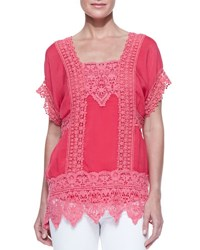 Johnny Was Short Sleeve Lace Inset Top Cherry Bomb