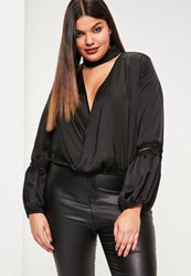 Missguided Plus Size Exclusive Black Satin Choker Neck Lace Insert Blouse