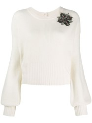 Pinko Brooch Embellished Jumper White