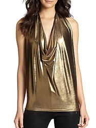 Ramy Brook Harriet Draped Lame Halter Top Gold