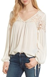 Hinge Lace Yoke Top Ivory