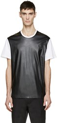 Neil Barrett White And Black Leather Effect T Shirt