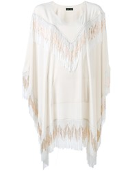 Baja East Embellished Flared Top Women Polyester Triacetate 2 Nude Neutrals