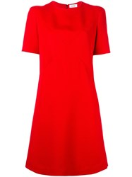 Courreges Crossover Stitching Dress Red