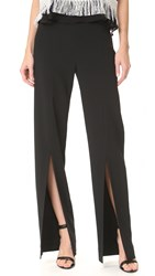 Jonathan Simkhai Cocktail Stretch Front Slit Pants Black
