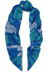 Maje Elsa Cotton Blend Jacquard Scarf Bright Blue
