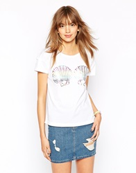 Worn By Mermaid Shells Boxy T Shirt In Irridescent Print White