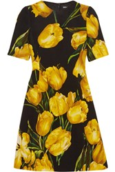 Dolce And Gabbana Floral Print Wool Crepe Mini Dress Yellow