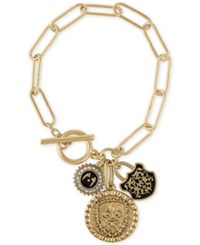 Rachel Roy Gold Tone Multi Charm Link Toggle Bracelet