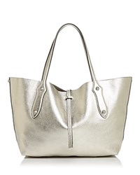Annabel Ingall Isabella Small Leather Tote 100 Exclusive Champagne Silver Silver